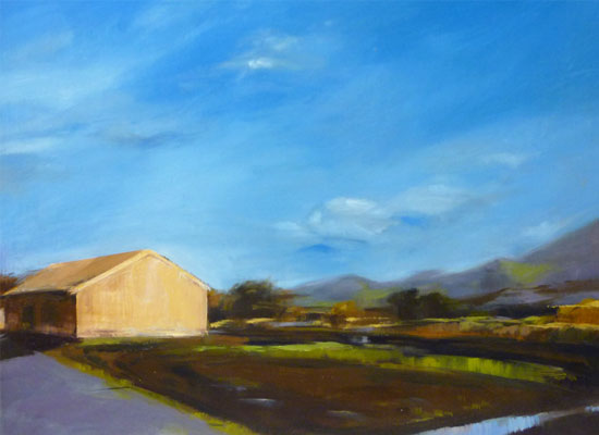 'Lone Barn House', 16x20 in., oil on board
