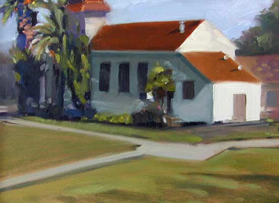 'Chapel in Hamilton', 8x10 in., oil on board, en plein air